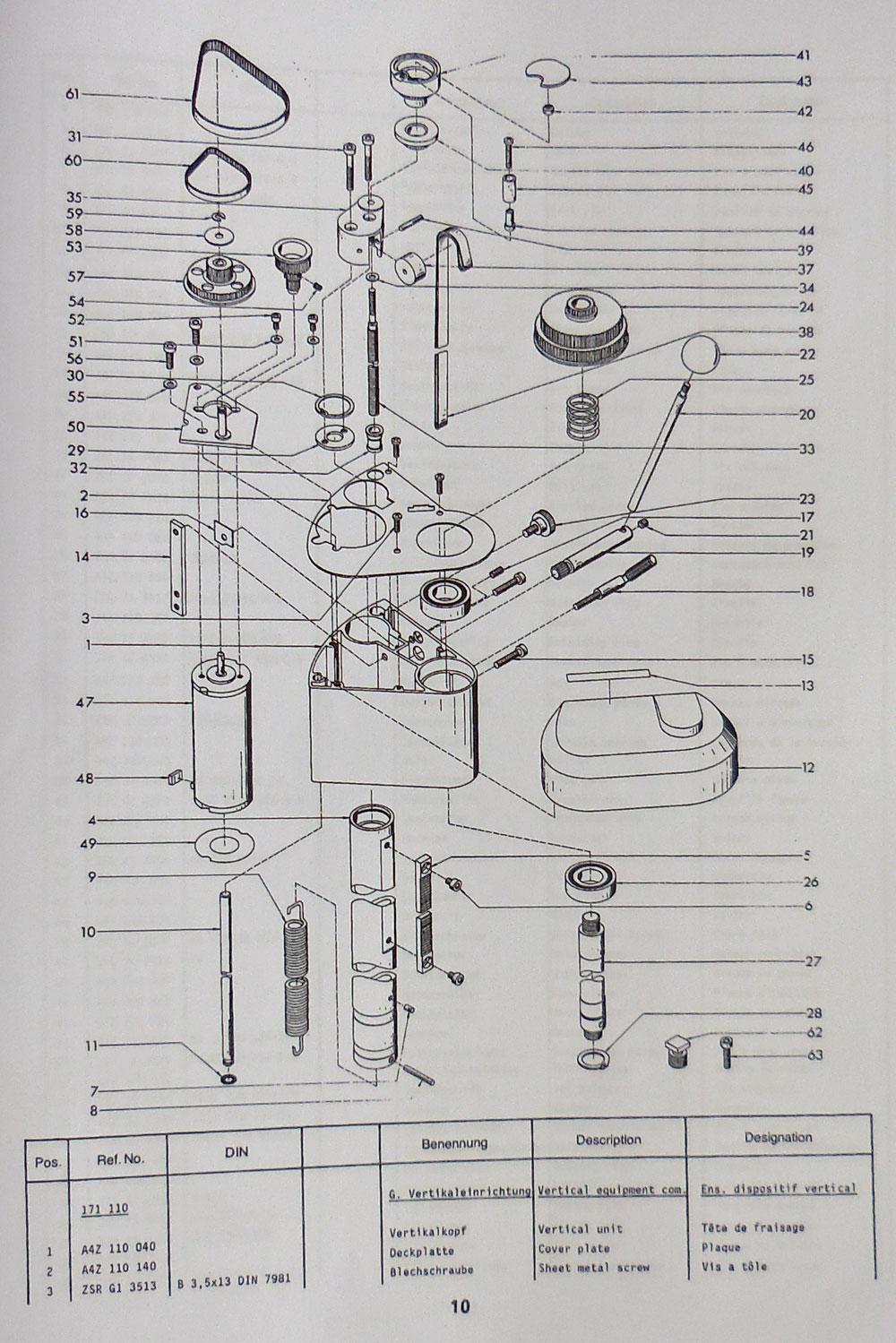 emco unimat basic pc lathe quadrant assembly 0227ub